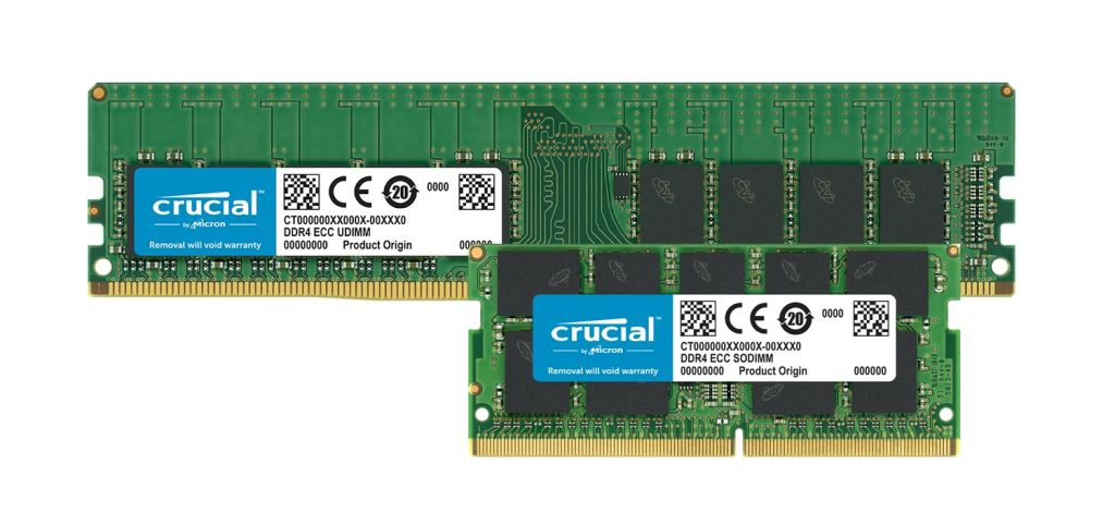 Crucial DDR4 ECC 記憶體模組。