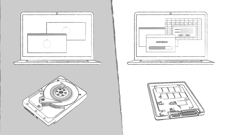 展示 SSD 相較於傳統硬碟,在電腦程式讀取時間上的優勢之插圖