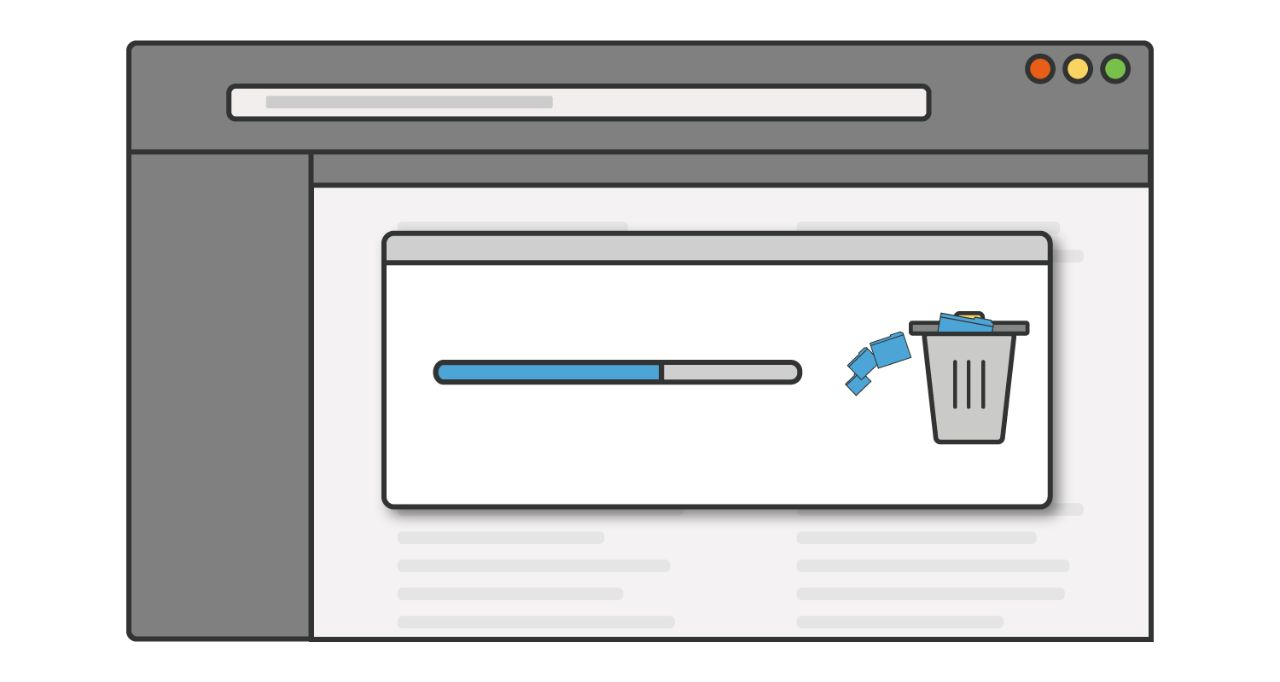 插圖:未使用的程式或應用程式正從電腦中刪除,及刪除進度條