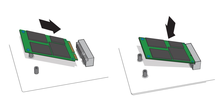 mSATA SSD 插入桌上型電腦主機板 mSATA 插槽的示意圖