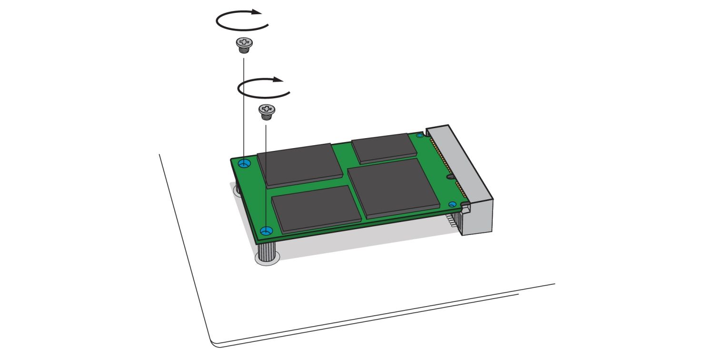 將新的 mSATA SSD 用螺絲鎖至桌上型電腦主機板 mSATA SSD 插槽的示意圖