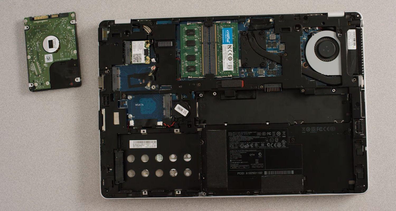 舊儲存硬碟自筆記型電腦的儲存槽移除
