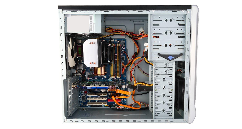 移除機殼側蓋、露出內部元件之電腦