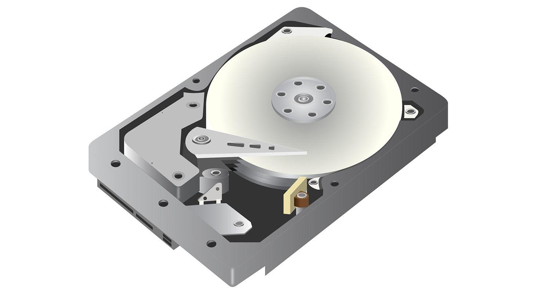 代表傳統硬碟(HDD)在白背景前的向量繪圖