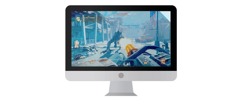 顯示電玩遊戲畫面的 Mac 電腦螢幕。
