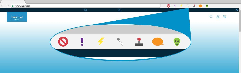 在瀏覽器視窗內的瀏覽器擴充功能插圖