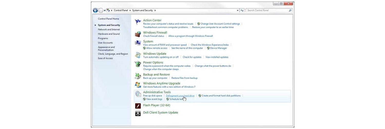在 Windows 7 的系統及安全性彈出視窗中,將滑鼠游標放在重組您的硬碟連結上
