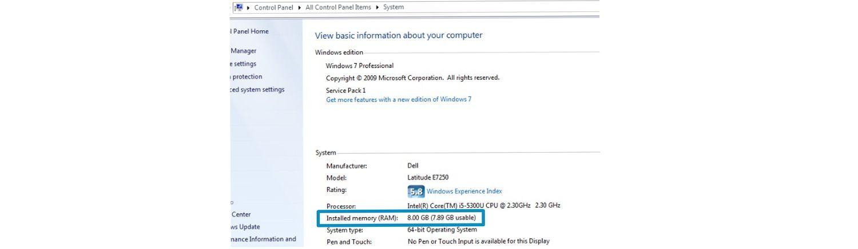 如何查看 Windows 電腦有多少記憶體的畫面截圖。